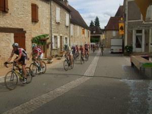 Bike racers in the village of Daglan, France