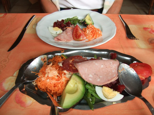 Serving platter of mixed salads