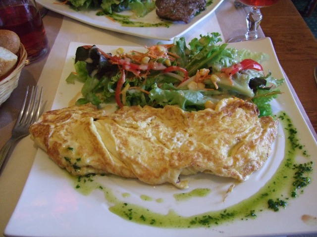 Cheese omelette and salad