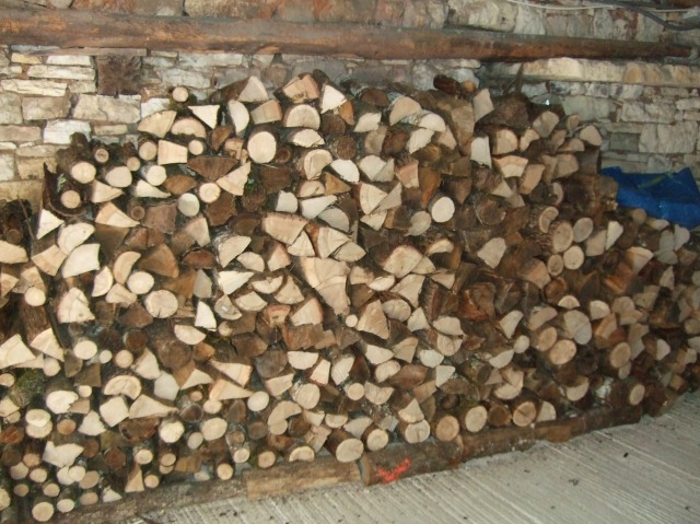 Firewood stacked in garage