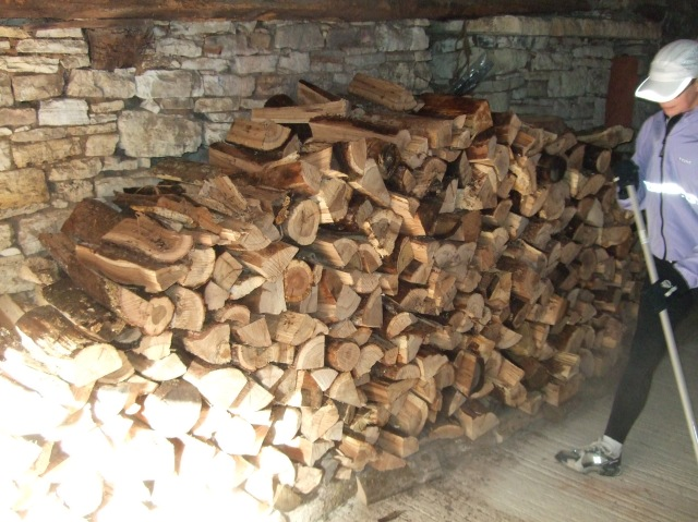 Wood stacked in garage