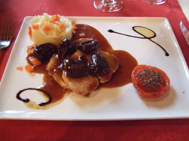 A roast pork main dish