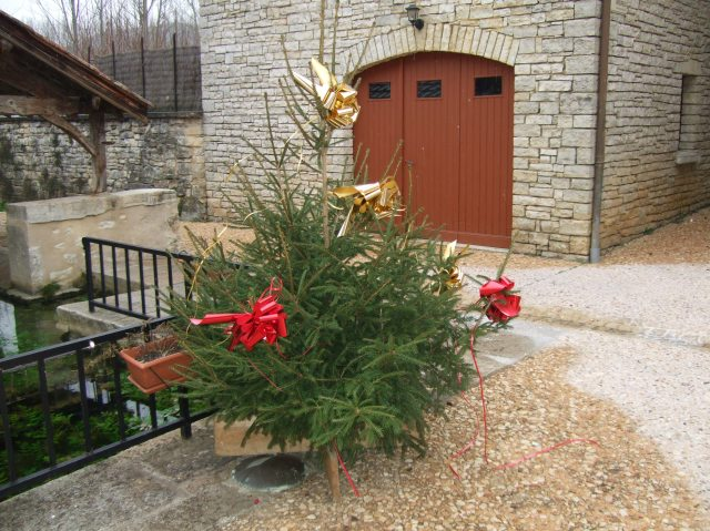 Decorated Christmas tree in Daglan, France.