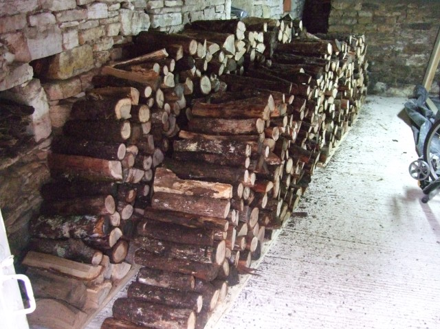 Neatly stacked firewood