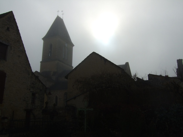 Church tower in the fog