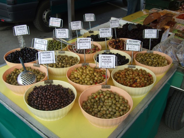 Trays of olives