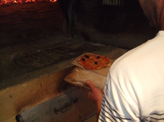 Pizza from the oven.