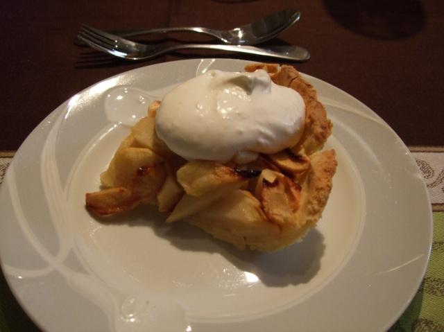 Apple tart and whipped cream