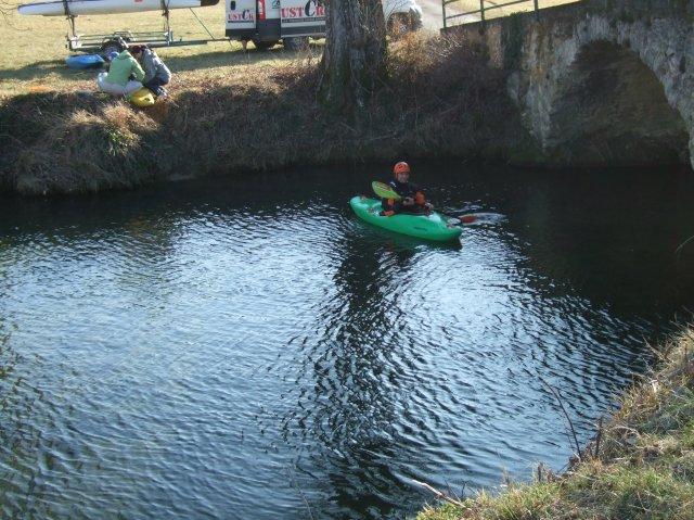 Kayak at bridge