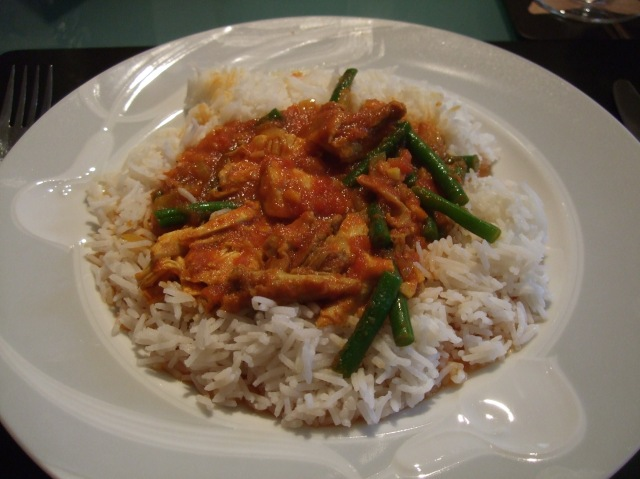 Basmati rice with a spicy capon curry.