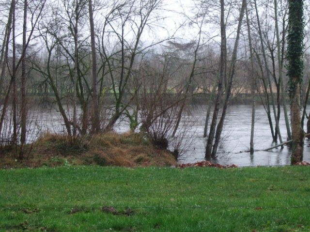 The Dordogne is filled to the top of its banks, and then some.