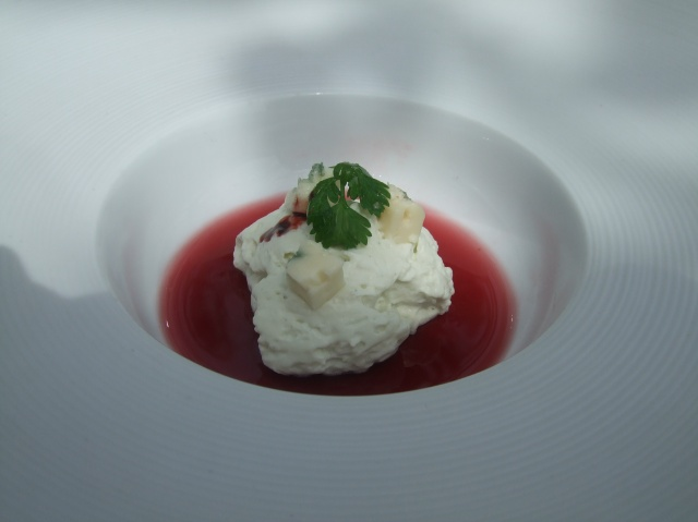 The port jelly was perfect with the whipped Roquefort cheese.