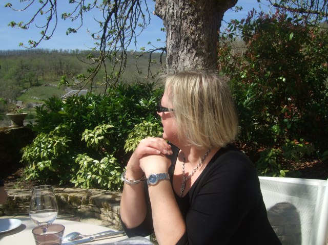Darlene enjoying the sunshine and the view.