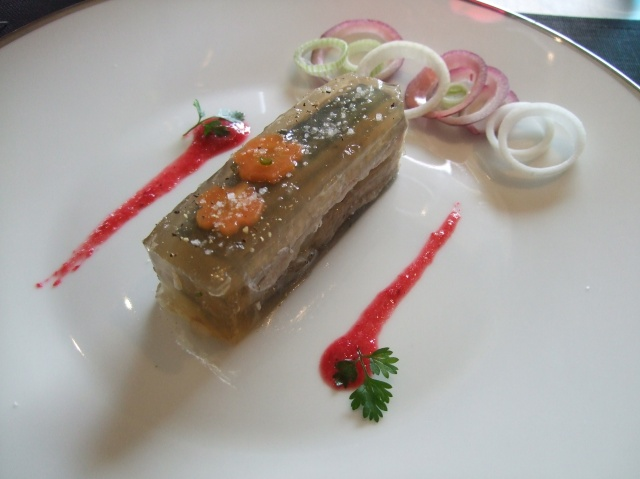 My meal began with mackerel in aspic.