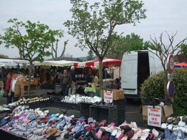 Shoes and slippers at the St. Cyprien market.