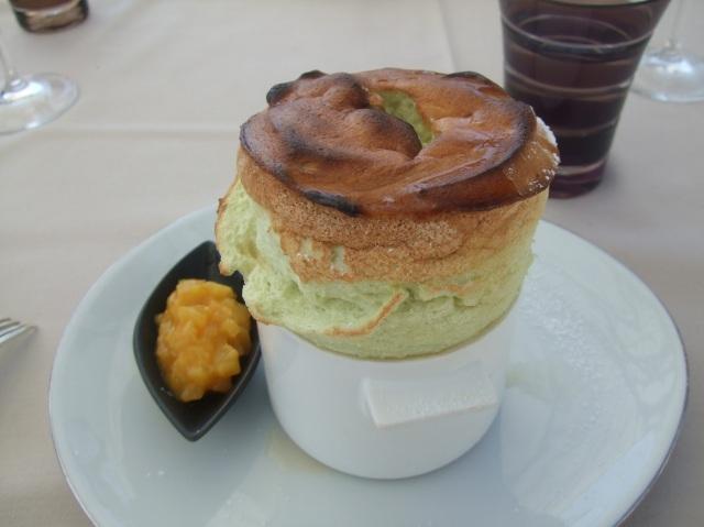 Pistachio soufflé for dessert.