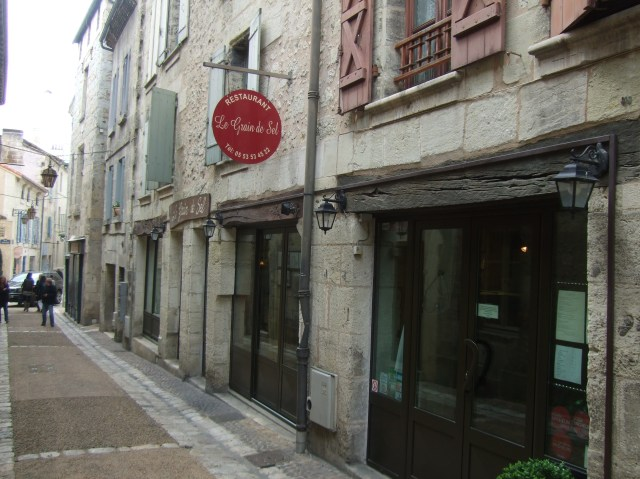 The restaurant is placed on a narrow cobbled street.