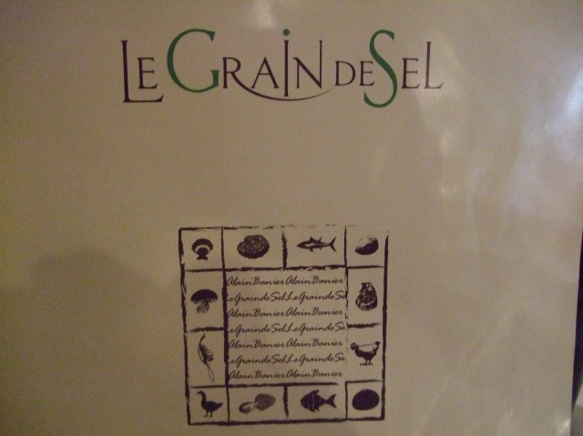 The cover of the menu at Le Grain de Sel.