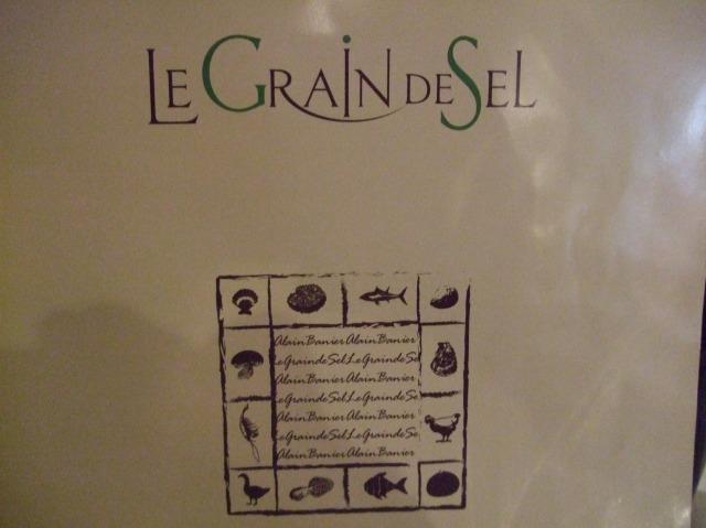 The cover of the menu at Le Grain de Sel.