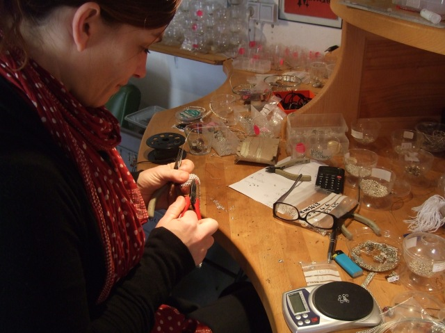Here's Sophie in her atelier, working with silver.