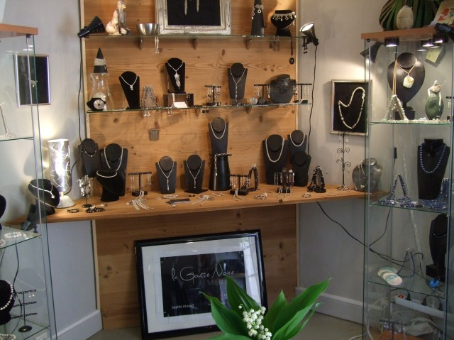 A sampling of Sophie's jewelry, on display in her shop.
