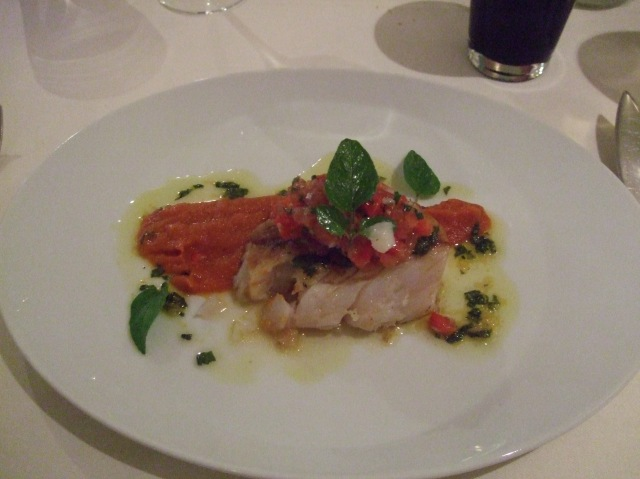 Jan's entrée: Cod with tomatoes done two ways.