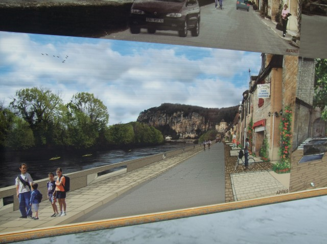 An artist's rendering, showing the new and improved road -- and walkways.