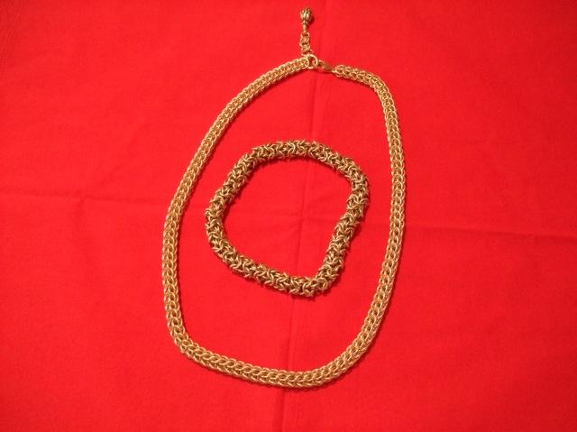 Jan's new necklace surrounds her bracelet.