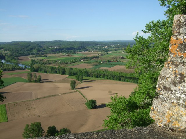 A view of fields and hills from Domme.