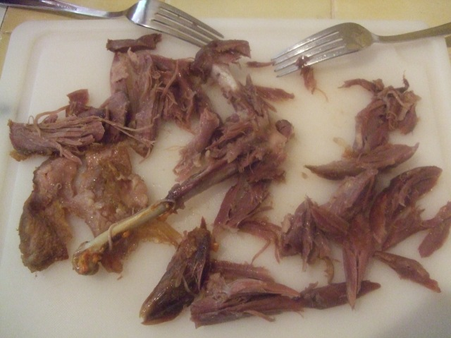 Here's the shredded meat from just one of the duck legs.