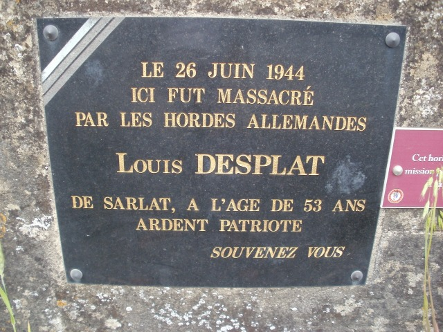 A plaque in memory of Louis Desplat.
