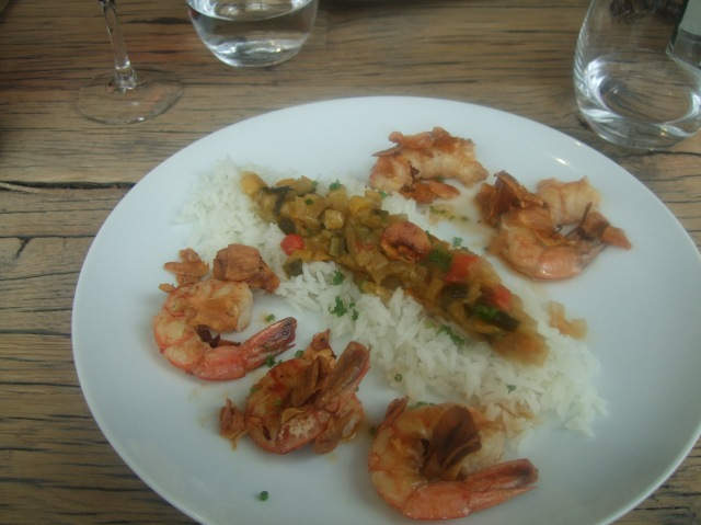 "Jan's shrimp dish -- ""perfectly cooked,"" she kept saying."