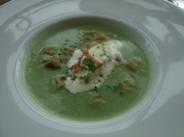 Hot or cold for the asparagus soup? I chose the hot version. Delicious.