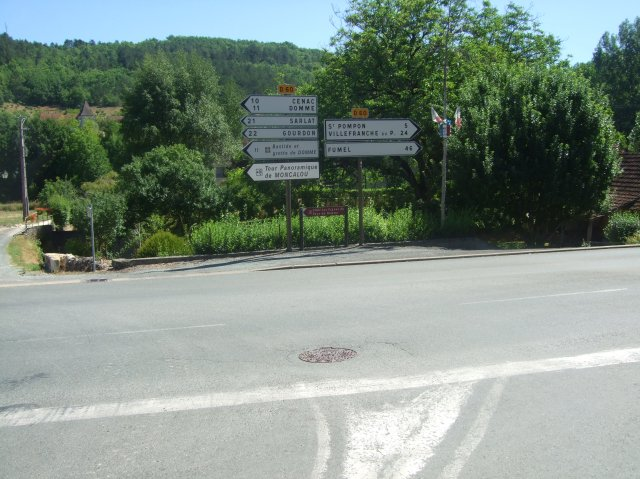 At the signs, turn right -- and St. Pompon is just five kms away.