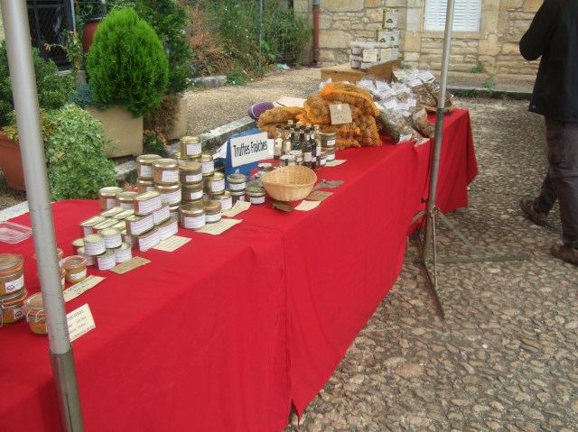 A table of truffles and truffle products.
