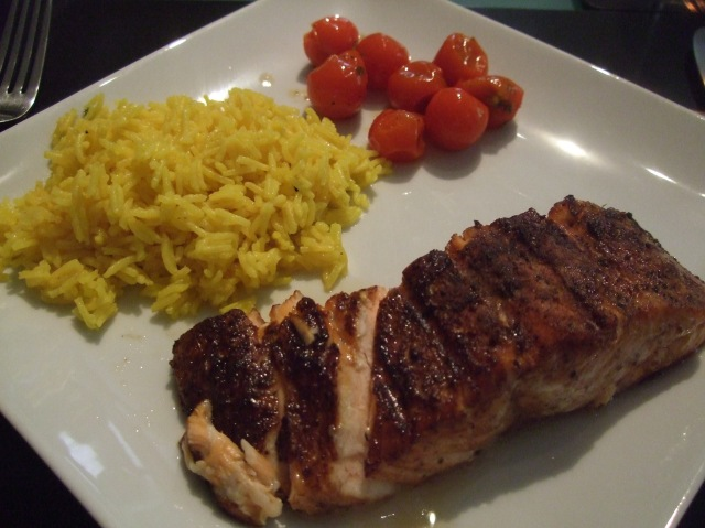 Moist salmon, saffron rice, roasted cherry tomatoes -- very good.