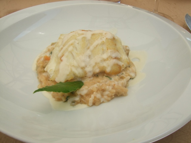 Savoury best describes this cod and risotto dish.