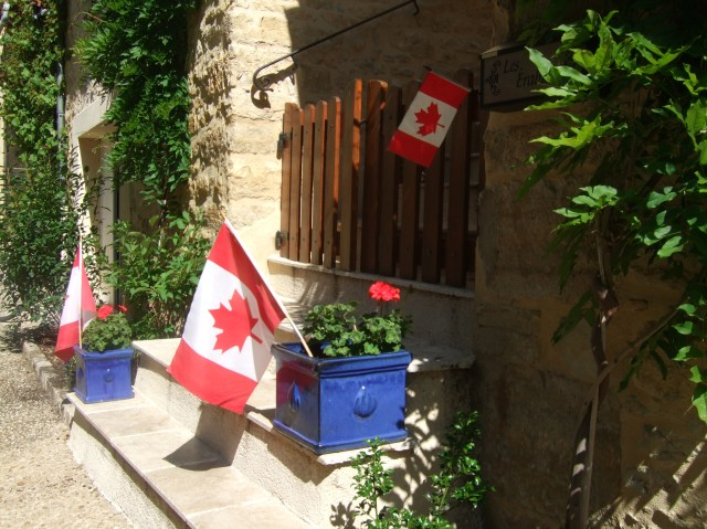 Our display of Canadian flags on Canada Day.