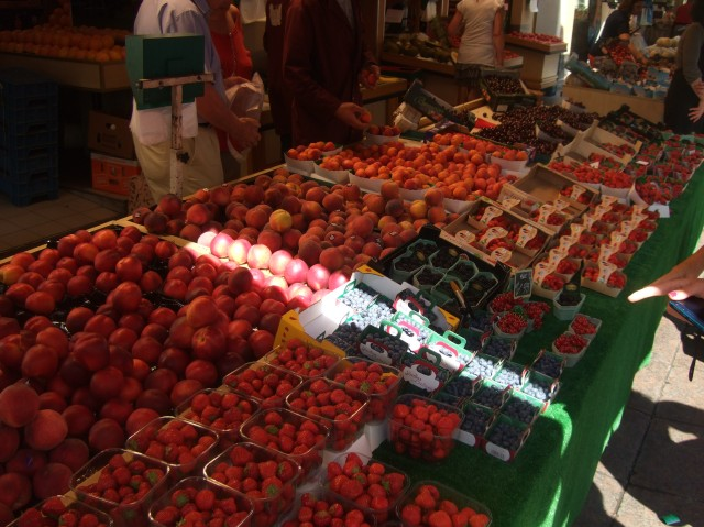 Rows and rows of red fruit -- strawberries