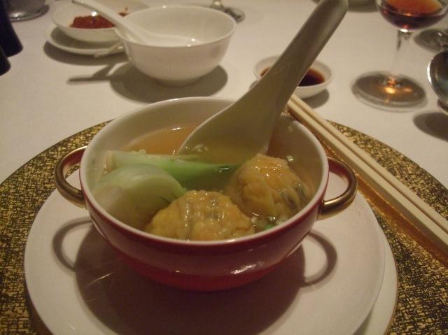 My bowl of won ton soup at the Shang Palace.