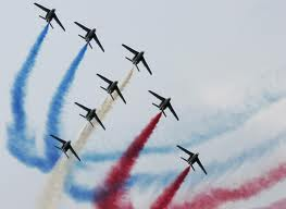 The famous blue, white and red of France's flag -- from the Patrouille's jets.