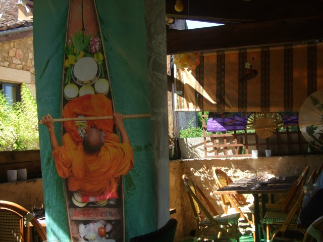 Interior of Sawadee, with large banner hanging up as decoration.