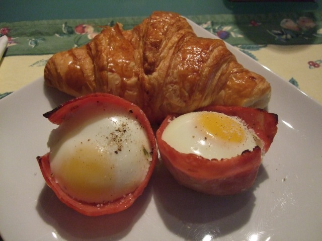 And here is breakfast -- two ham cups with baked eggs, plus my croissant.