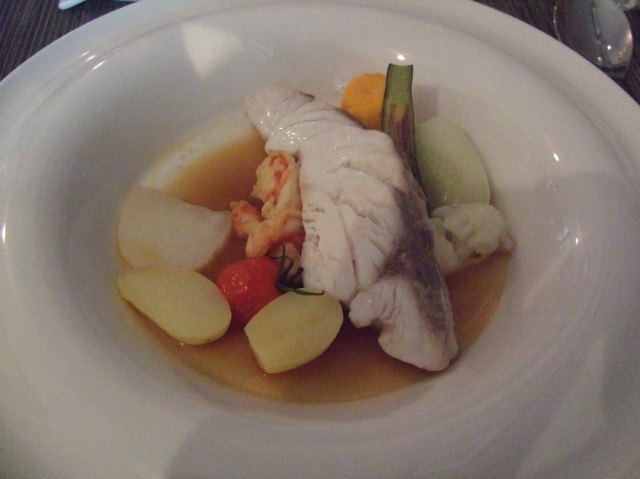 My serving of sea bass with vegetables.