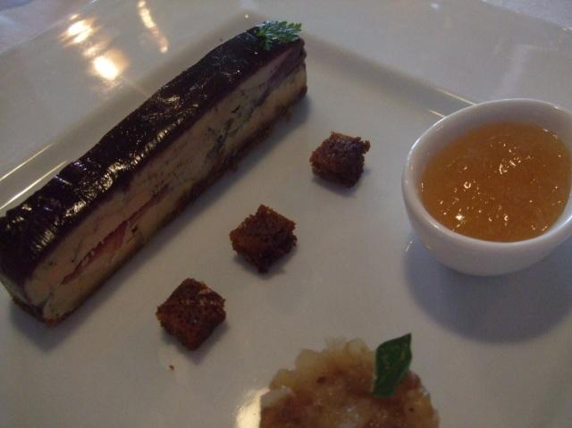 My entrée of foie gras, designed as a dessert.