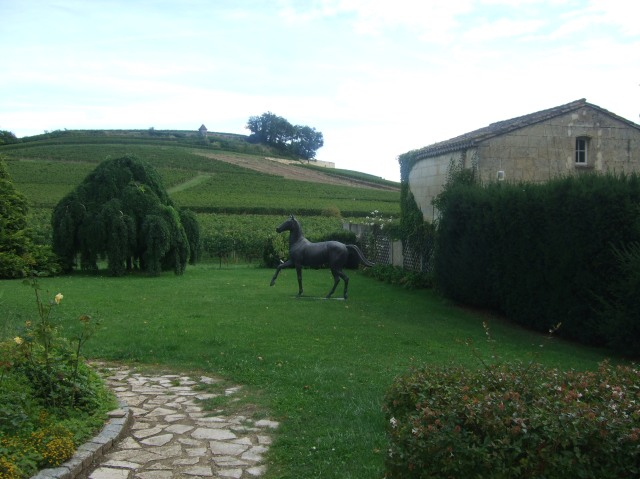 A black horse statue near hills of vines -- the Cheval Noir?