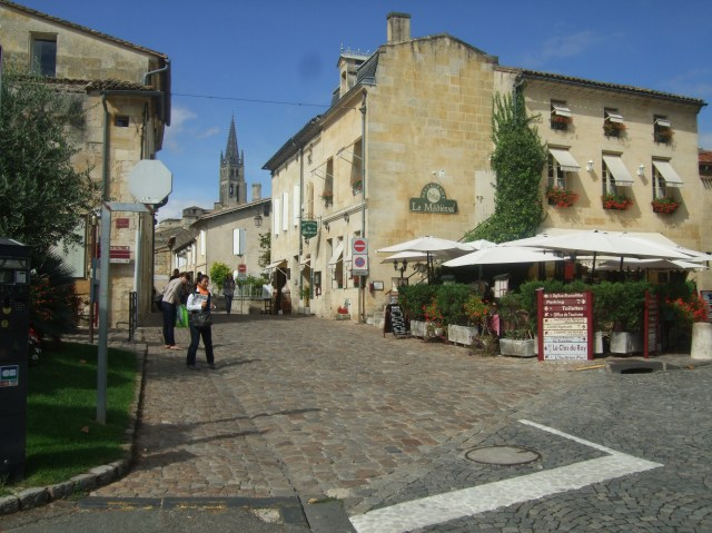 Looking up one of Saint-Émilion's quaint streets.