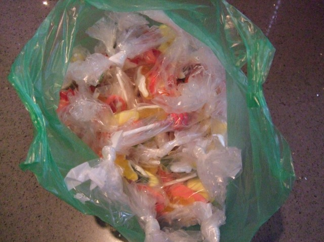 Our plastic bag of candies was all set to go.