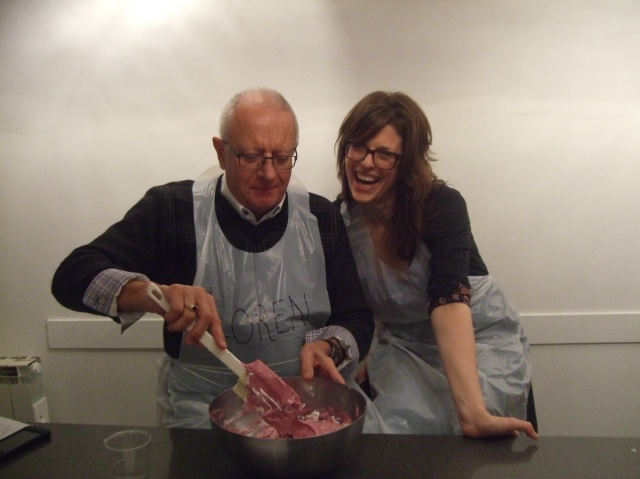 Father and daughter team: The folding of the coloured meringue mix.