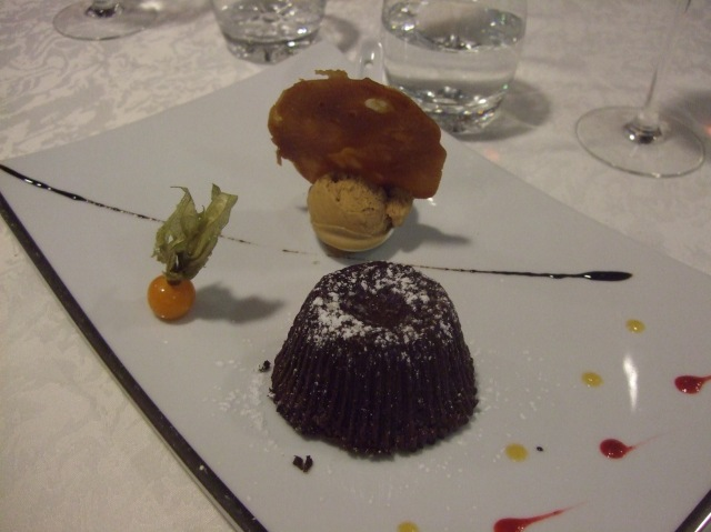 A gooey chocolate fondant to finish the meal.